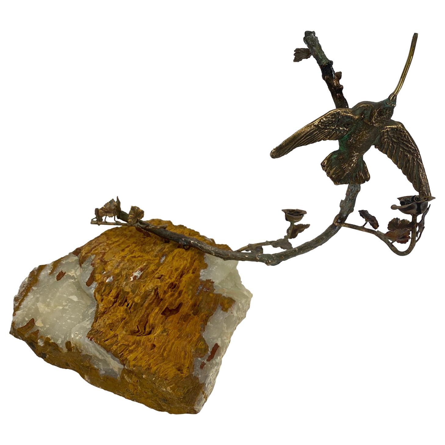 Curtis Jere Honeybird Sculpture on Faux Bois Stone Quartz Base