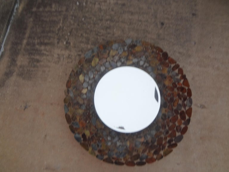 Curtis Jere Inspired Brutalist Torch Cut Metal Beveled Mirror For Sale 4