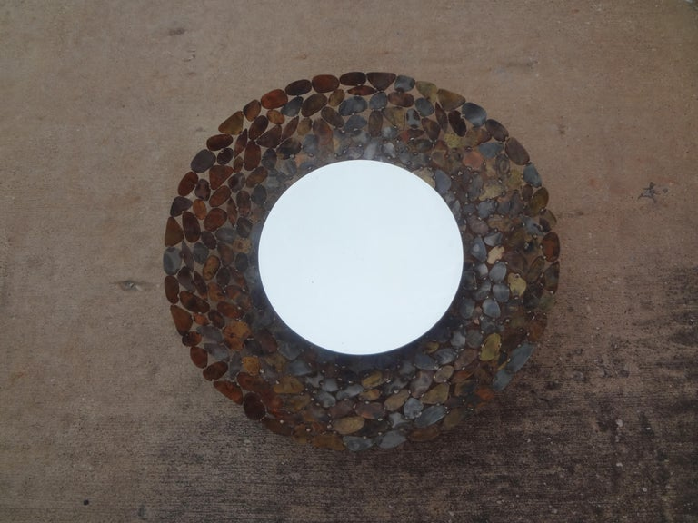 Curtis Jere Inspired Brutalist Torch Cut Metal Beveled Mirror For Sale 5