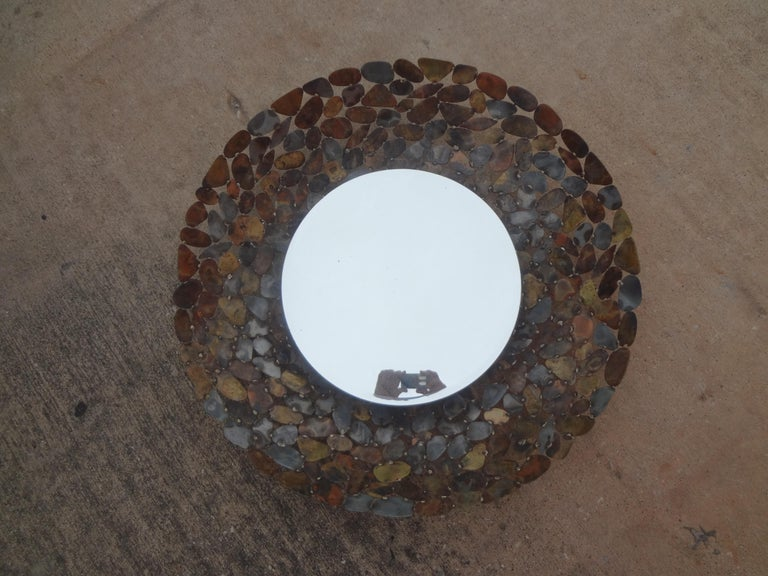 Curtis Jere Inspired Brutalist Torch Cut Metal Beveled Mirror For Sale 6