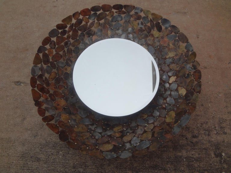Curtis Jere Inspired Brutalist Torch Cut Metal Beveled Mirror For Sale 1