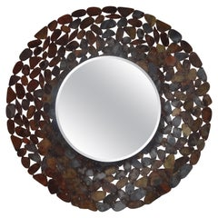 Curtis Jere Inspired Brutalist Torch Cut Metal Beveled Mirror