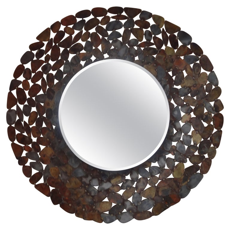 Curtis Jere Inspired Brutalist Torch Cut Metal Beveled Mirror For Sale 3