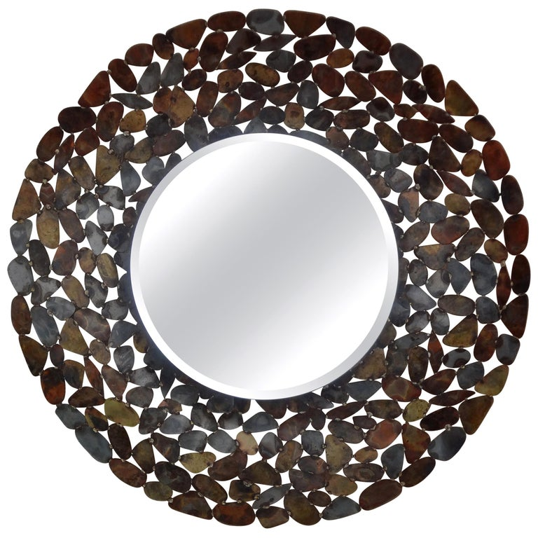 Curtis Jere Inspired Brutalist Torch Cut Metal Beveled Mirror For Sale