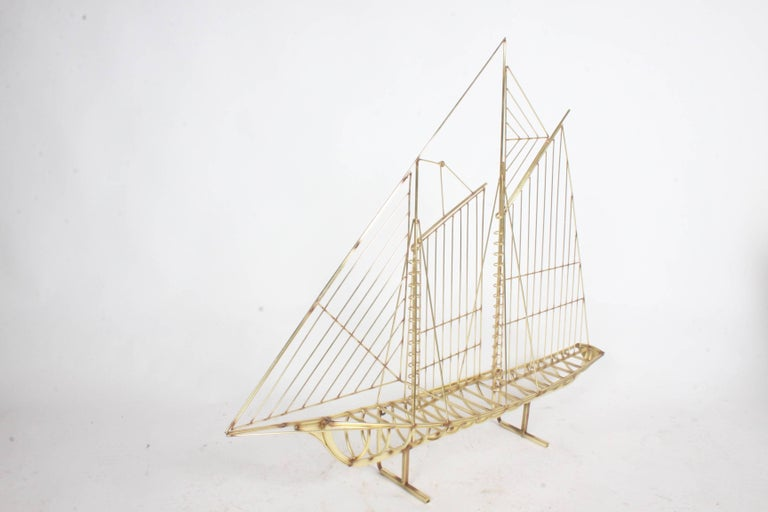 Curtis Jere Large Brass Ship Sculpture Signed, 1976 For Sale 4