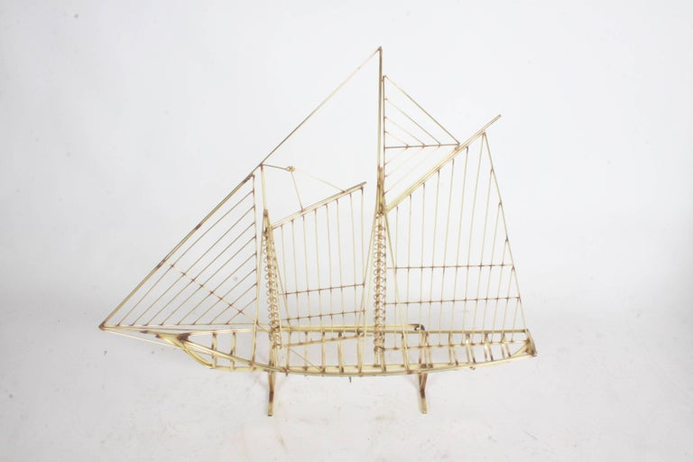 Curtis Jere Large Brass Ship Sculpture Signed, 1976 In Good Condition For Sale In St. Louis, MO