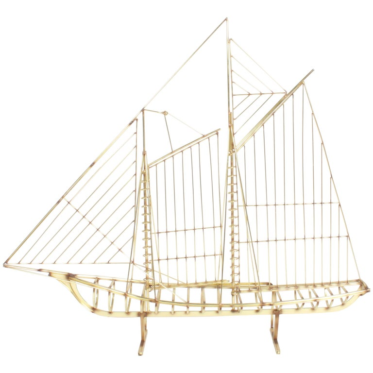 Curtis Jere Large Brass Ship Sculpture Signed, 1976 For Sale