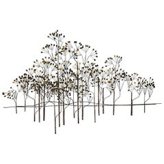 """Curtis Jere Large Midcentury Hanging Wall Forest Sculpture """"The Elms"""", 1973"""