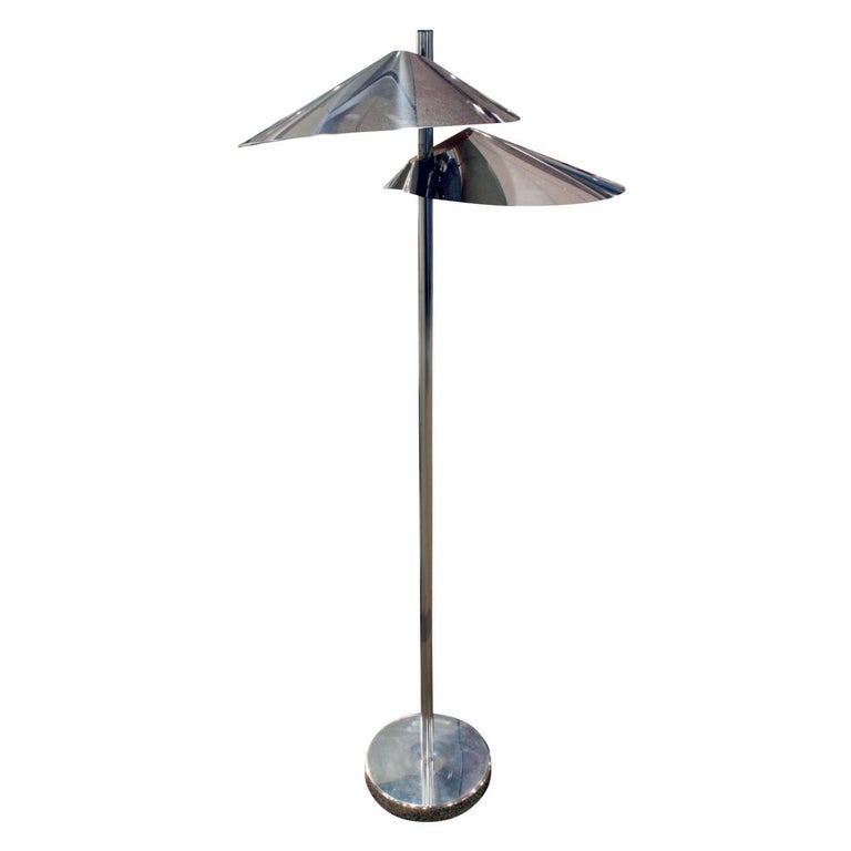 """Curtis Jere """"Lily Pad"""" Chrome Floor Lamp, 1960s"""