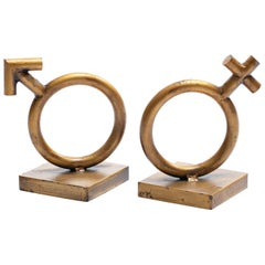 Curtis Jere Mars & Venus Gold Gilt Bookends Sculptures Signed Jeré, 1968