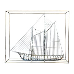 Curtis Jeré Metal Clipper Ship Sculpture In A Box, Signed
