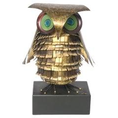 Curtis Jere Mid-Century Large Metal Owl Sculpture