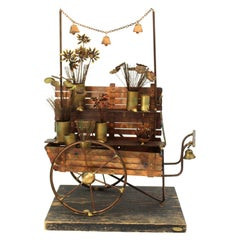 Curtis Jere Mid-Century Modern Flower Cart Sculpture