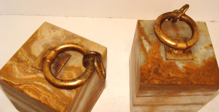 Curtis Jere Onyx Bookends In Good Condition For Sale In Lambertville, NJ