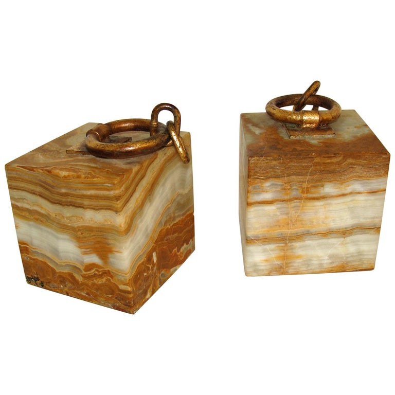 Curtis Jere Onyx Bookends For Sale