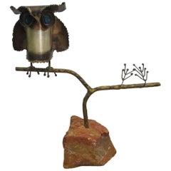 Curtis Jere Owl Sculpture on Stone Base