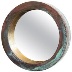 Curtis Jere Patinated Brass Porthole Mirror