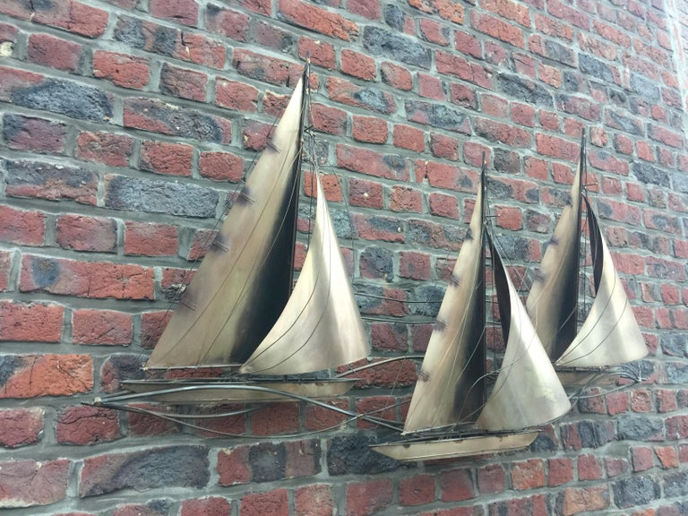 Curtis Jere racing sailboats Brutalist wall sculpture, signed and dated 1977.