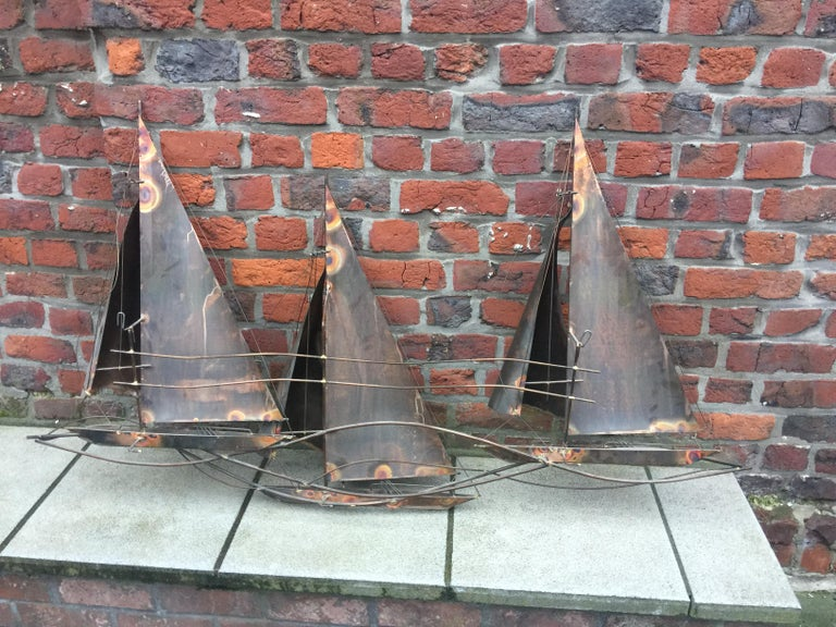 Brass Curtis Jere Racing Sailboats Wall Sculpture, Signed & Dated 1977 For Sale