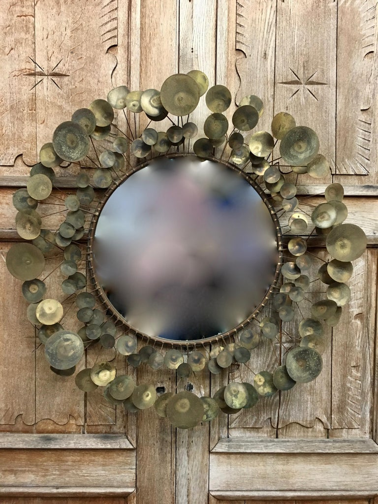 Early version of the Raindrops mirror with fifty years of natural patina.