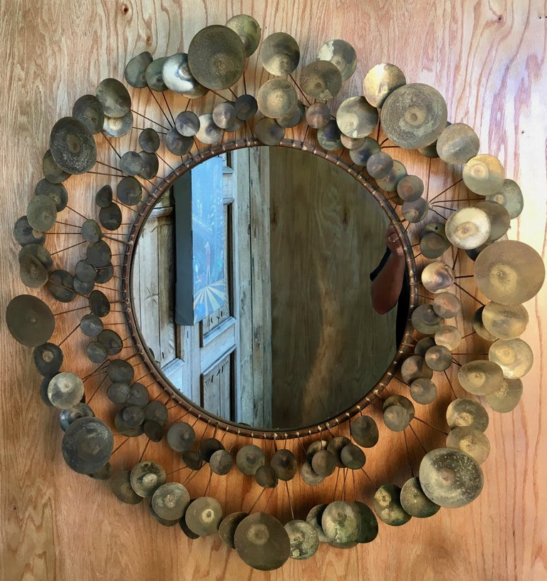 Brass Curtis Jere Raindrops Mirror, 1968 For Sale