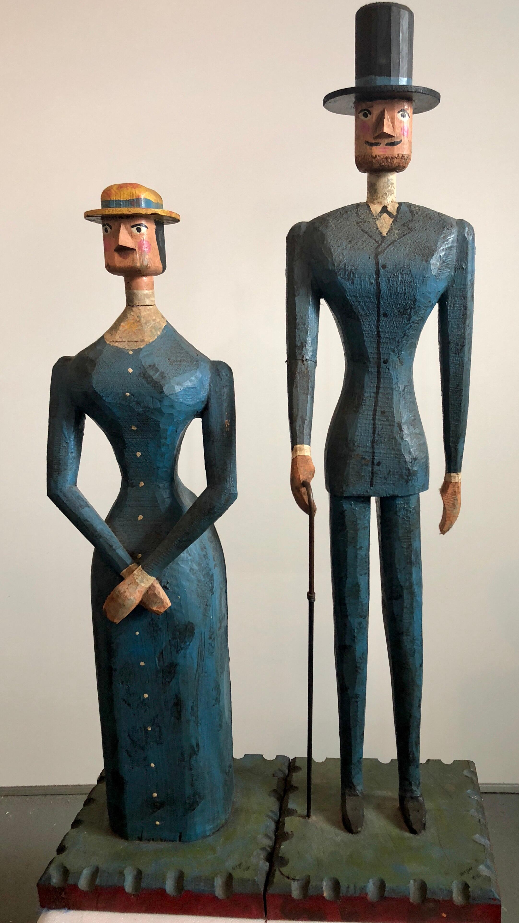 Hand Carved Painted Wood Folk Art Americana Sculpture Pair American Gothic