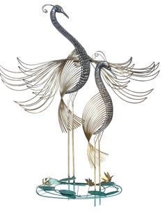 Modern Large Two Peacock Brass and Metal Wall Sculpture