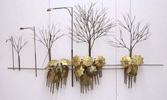 """""""Spring Showers"""" Signed Brass Wall Hanging"""