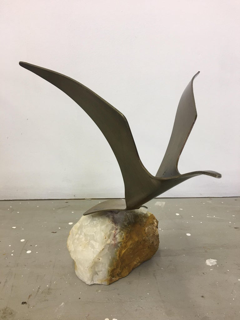 Curtis Jere Seagull on Marble Base In Good Condition For Sale In Philadelphia, PA