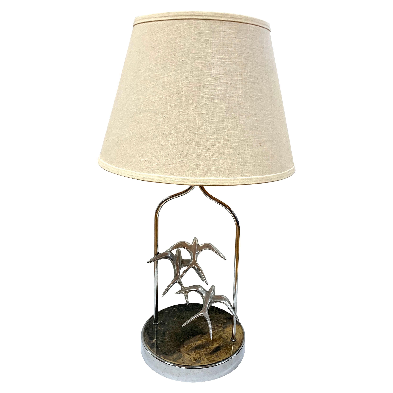 Curtis Jere Signed Flock of Seagulls Sculptural Brutalist Table Lamp