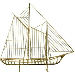 "Curtis Jere ""Skeleton"" Sailboat Wall Sculpture in Brass"