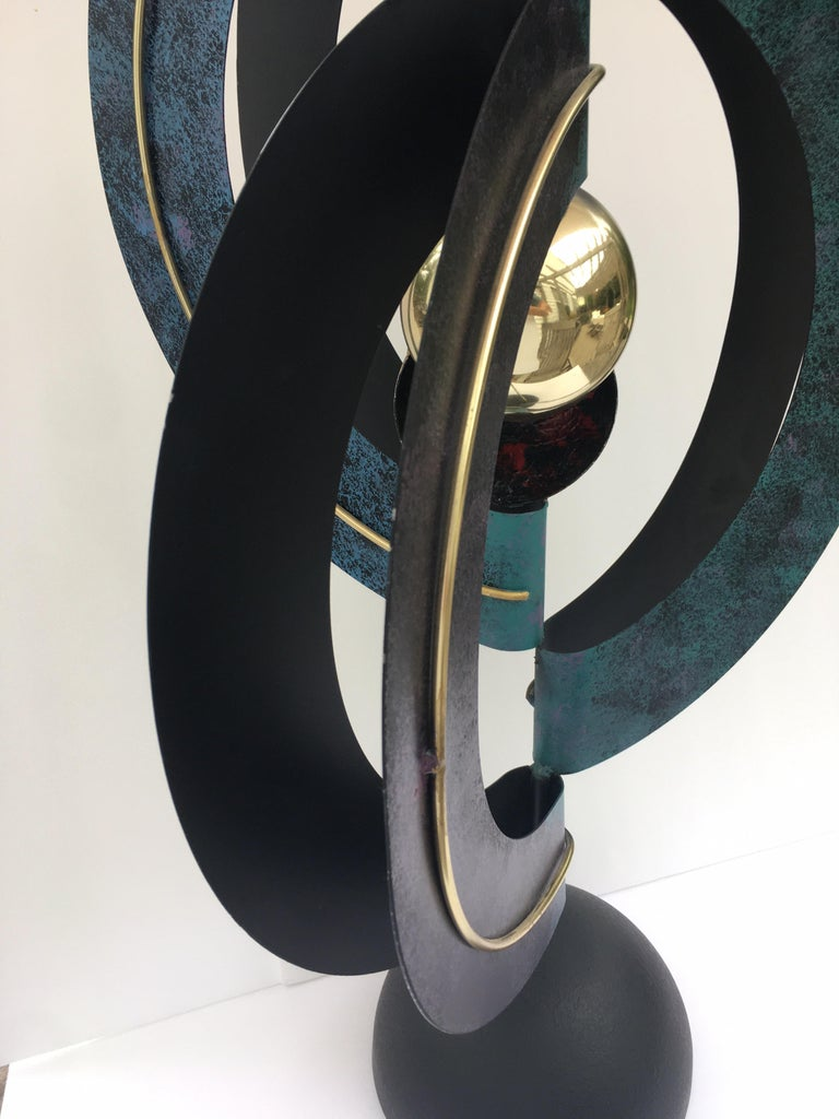 Modern Curtis Jere Sphere and Circle Table Sculpture, 1990s For Sale