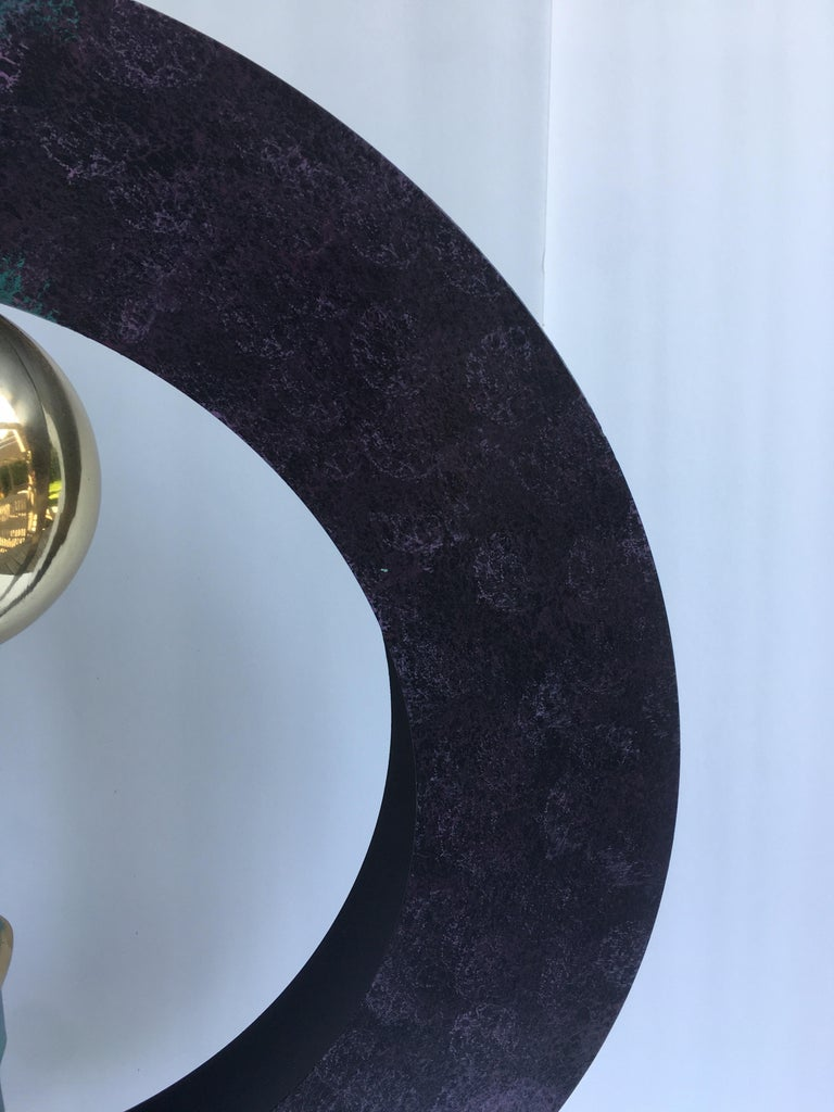 Metal Curtis Jere Sphere and Circle Table Sculpture, 1990s For Sale
