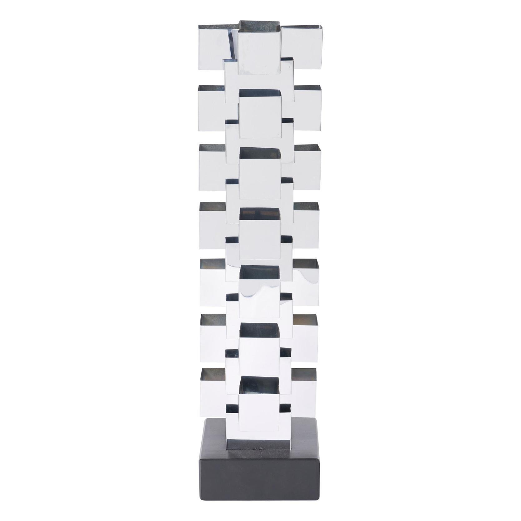 Curtis Jere Stacked Chrome Geometric Skyscraper Lamp