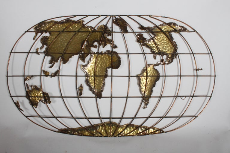 Curtis Jere Style Brass & Copper World Globe Map, Signed Faye For Sale 4