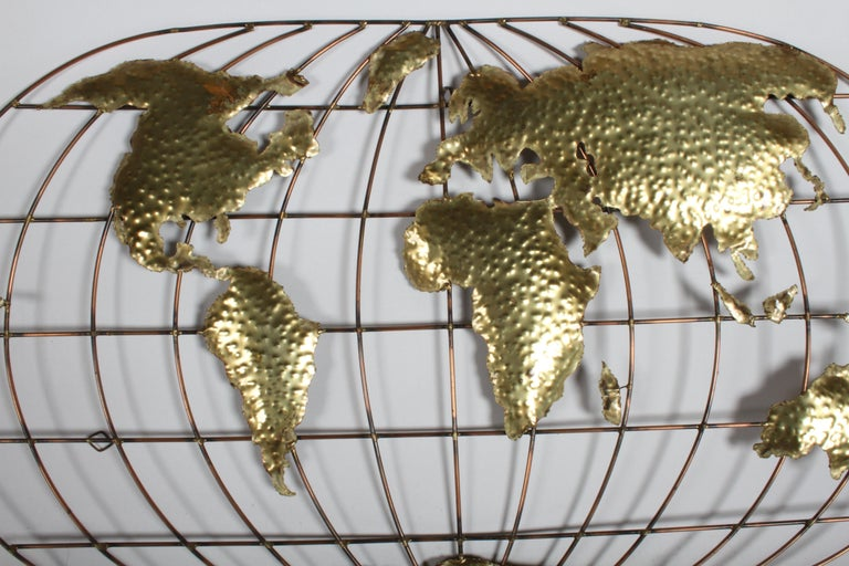 Mid-Century Modern Curtis Jere Style Brass & Copper World Globe Map, Signed Faye For Sale