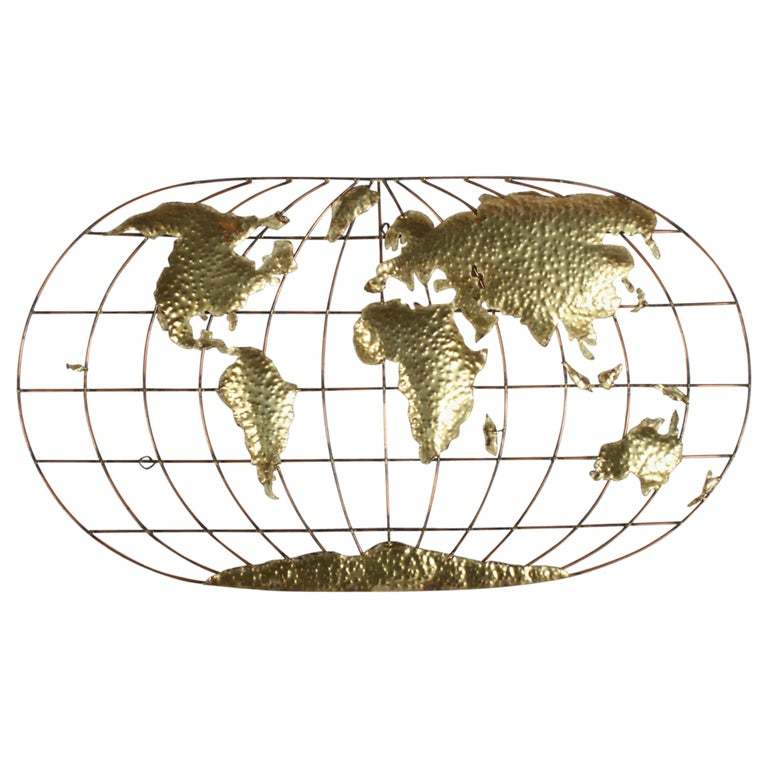 Curtis Jere Style Brass & Copper World Globe Map, Signed Faye For Sale