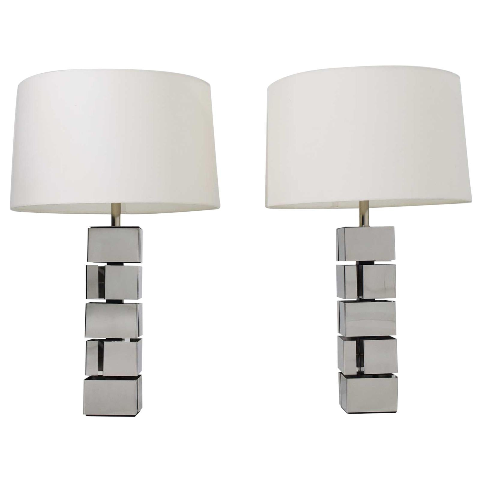 Curtis Jere Style Polished Chrome Table Lamps