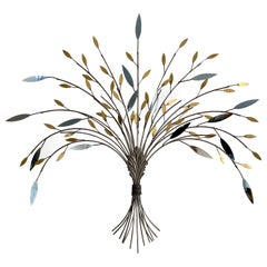 Curtis Jere Tree Branch Chrome and Brass Sculptural Metal Wall Sculpture, 1990s
