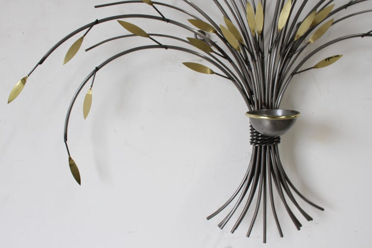 American Curtis Jeré, Tree Sculpture Candleholder or Sconce Made of Brass and Steel For Sale