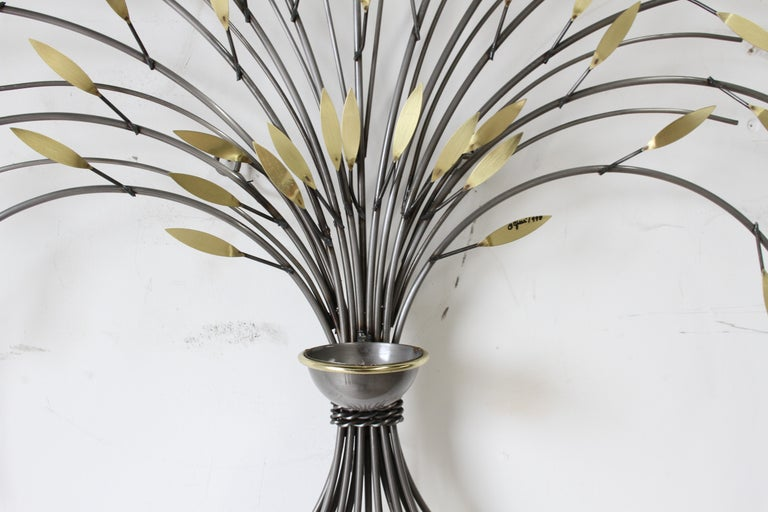 Curtis Jeré, Tree Sculpture Candleholder or Sconce Made of Brass and Steel In Good Condition For Sale In St. Louis, MO