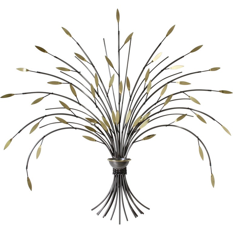 Curtis Jeré, Tree Sculpture Candleholder or Sconce Made of Brass and Steel For Sale