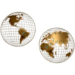 Curtis Jere World Map / Globe Wall Sculpture 'Two Piece'