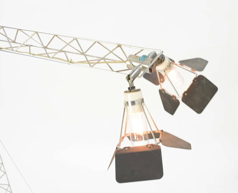 Steel Curtis Jere's Iconic Handcarfted Crane Lamp from 1977 For Sale