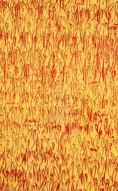 Curtis Kulig Love Me on Canvas (Yellow and Red)