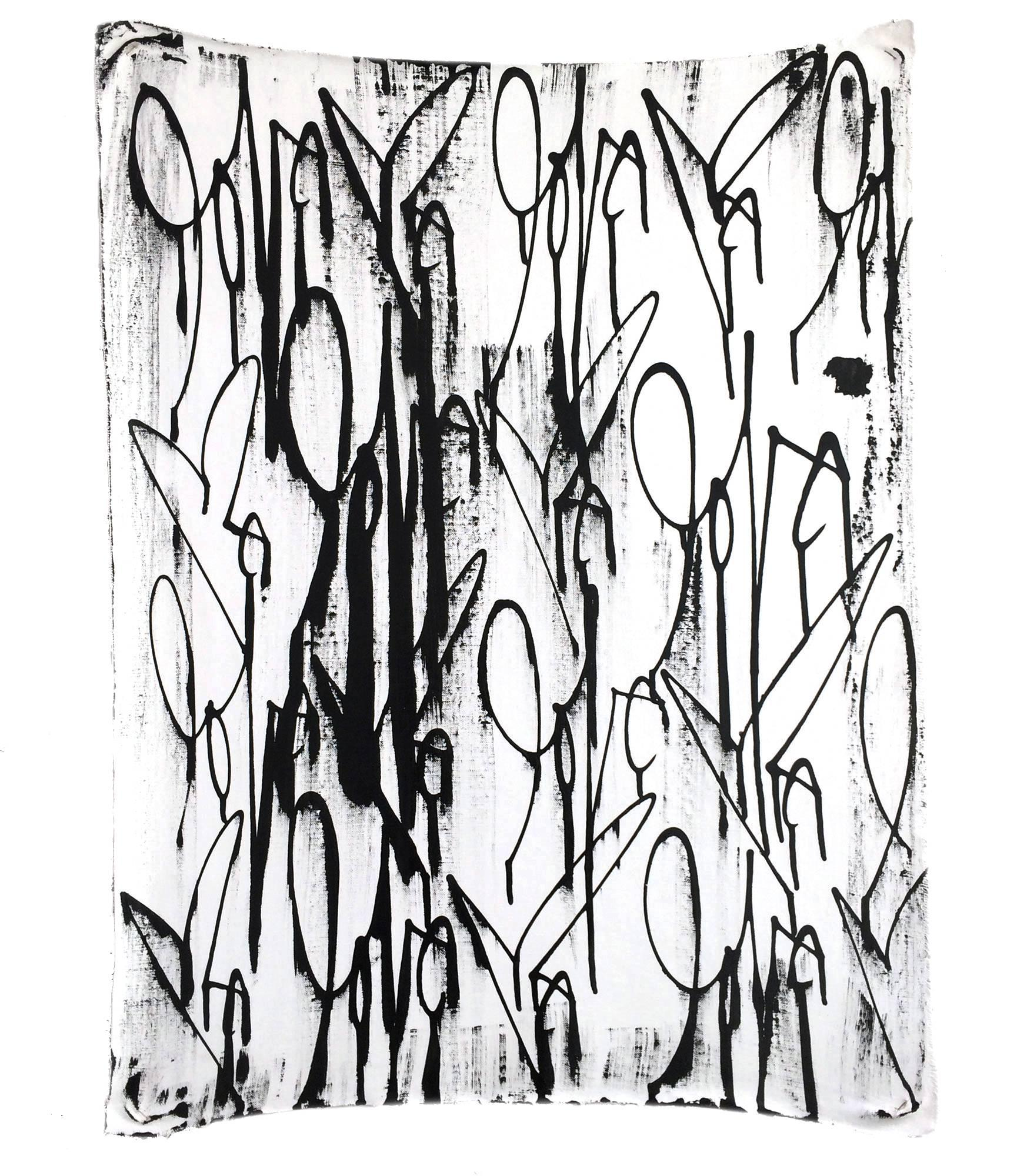 """""""Love Me"""" Black and White Painting by Curtis Kulig (Oil on Linen)"""