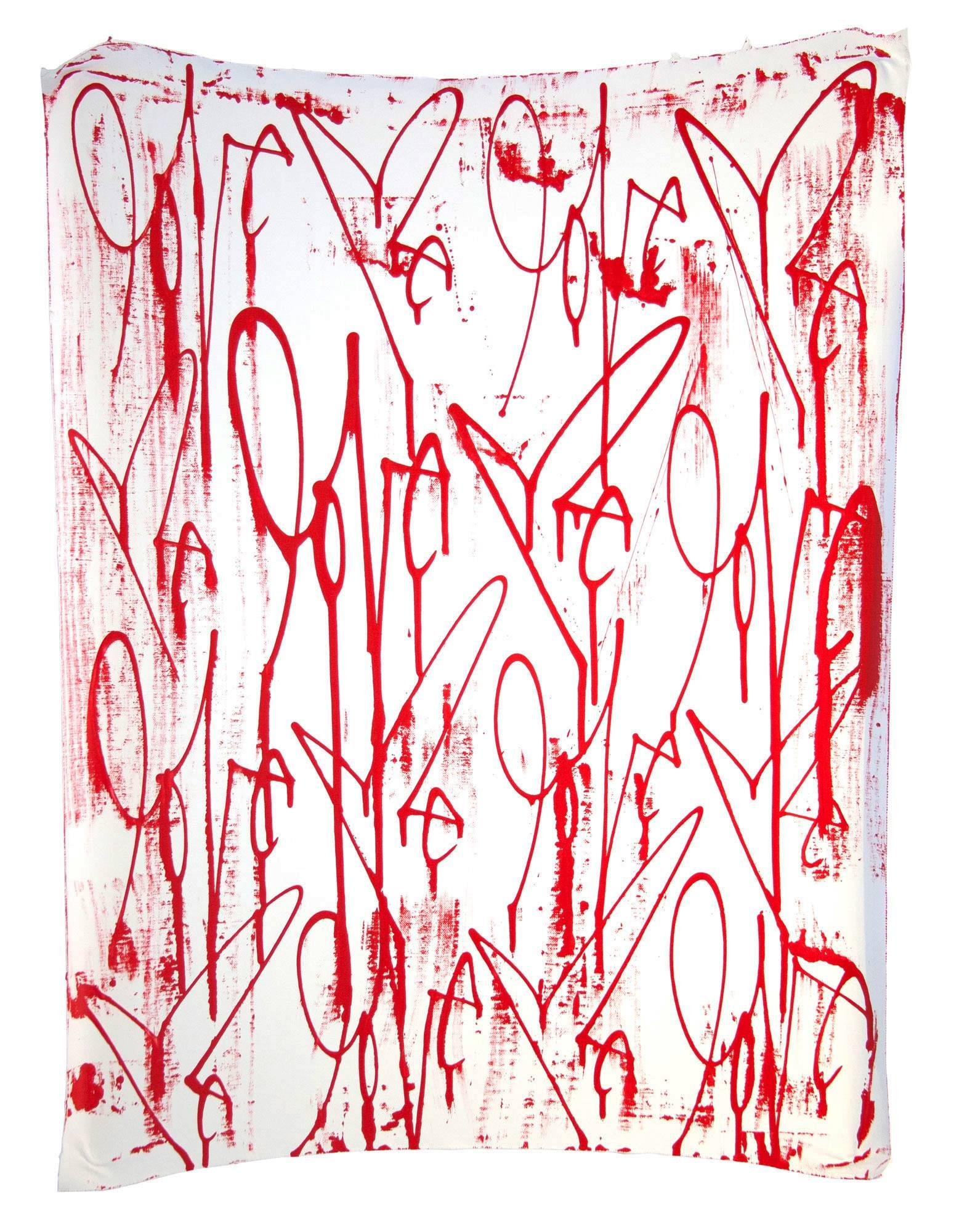 Love Me Oil on Linen Canvas (red and white paintings)