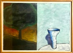 Vintage Large Oil Painting Study for Diptych Abstract Modernist Vessel and Tree