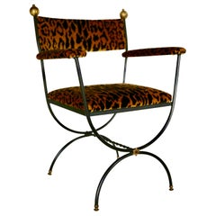 Curule Armchair in Leopardo Silk-Velvet