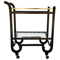 Curvaceous Art Deco Brass and Glass Serving Cart